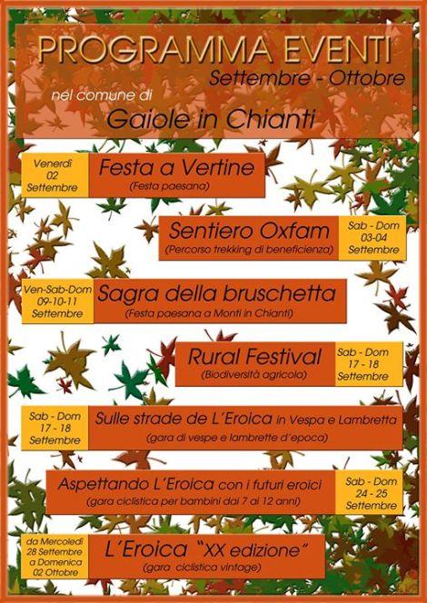 Programma eventi Settembre - Ottobre Gaiole in Chianti
